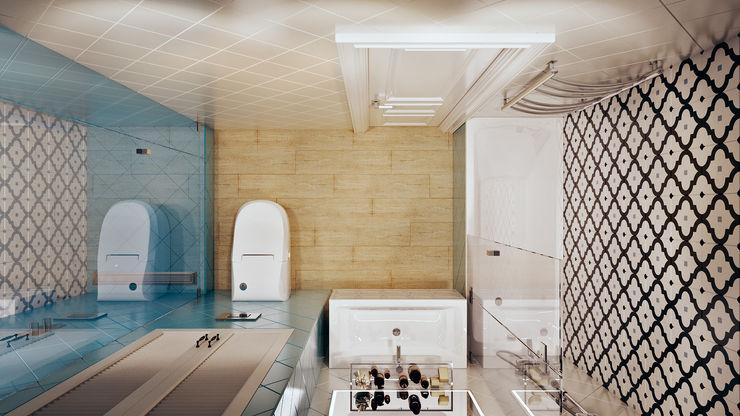 Голубая вуаль CO:interior Ванная в классическом стиле Эффект древесины