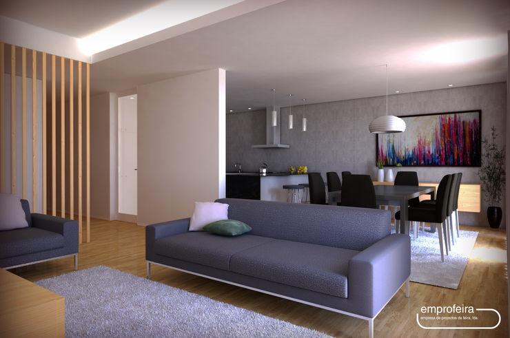 casa I_vista da sala comum Emprofeira - empresa de projectos da Feira, Lda. Salas de estar minimalistas Madeira Acabamento em madeira
