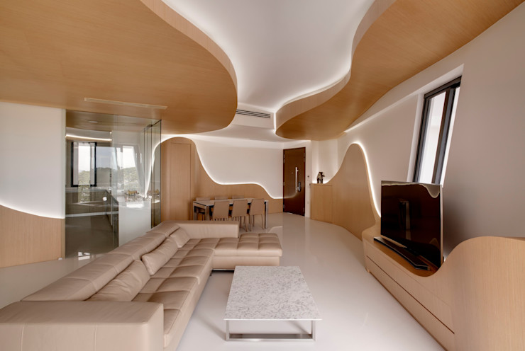 Landscape Apartment at D'leedon Lim Ai Tiong (LATO) Architects Modern living room