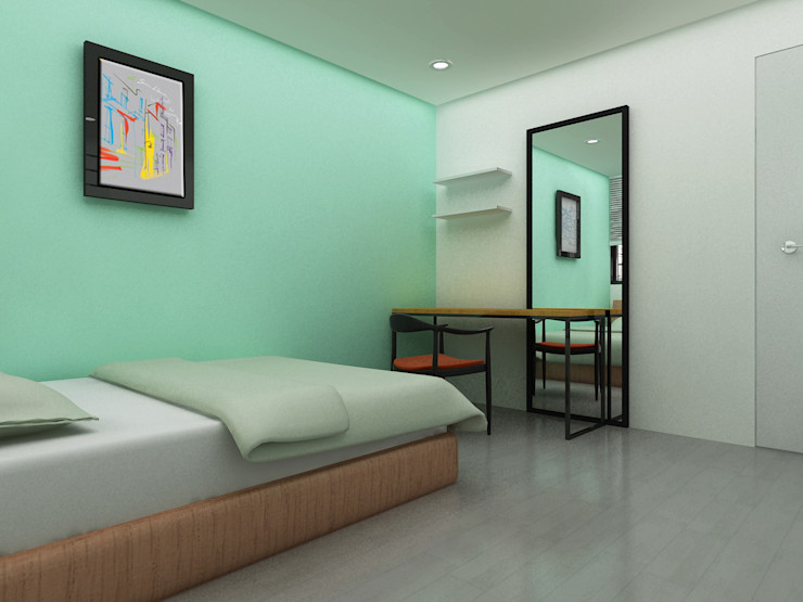 Korea - Apartment Interior Design Yunhee Choe Modern style bedroom Green