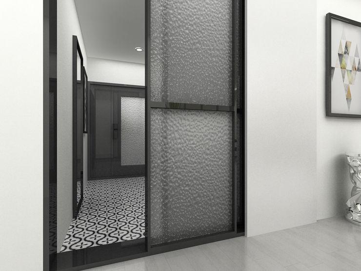 Korea - Apartment Interior Design Yunhee Choe Modern corridor, hallway & stairs White