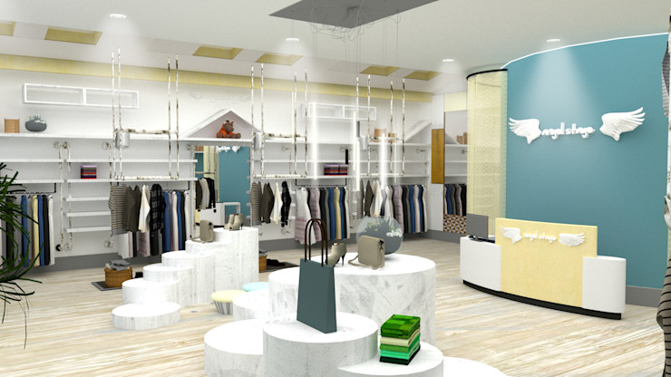 China - Shop Interior Design Yunhee Choe Industrial style dressing rooms Wood Beige