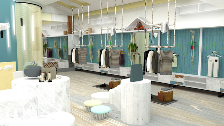 China - Shop Interior Design Yunhee Choe Industrial style dressing rooms Wood Blue