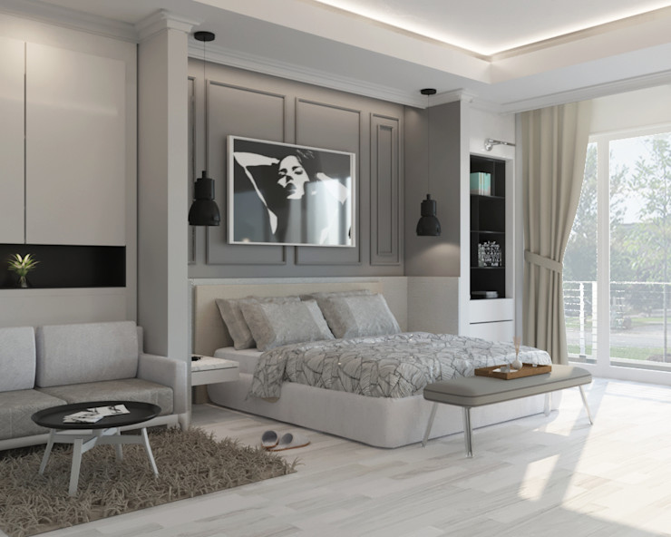 Noff Design Modern style bedroom Plywood White