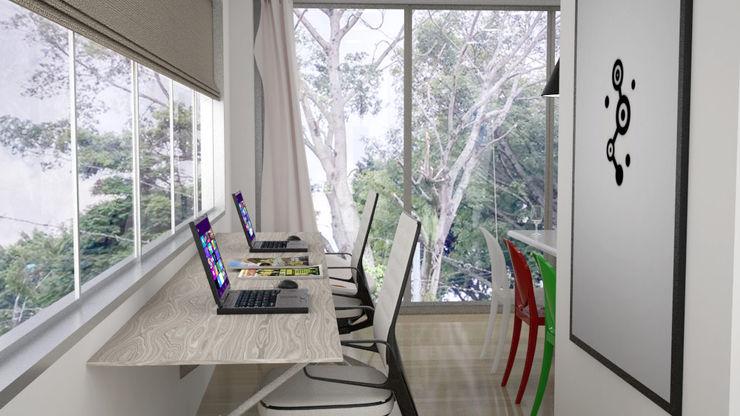 Elizabeth SJ Ruang Studi/Kantor Modern Kayu Wood effect