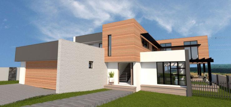 Front Facade A4AC Architects Single family home Bricks Grey