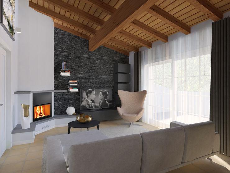 la parete camino/tv Flavia Benigni Architetto Soggiorno moderno Grigio