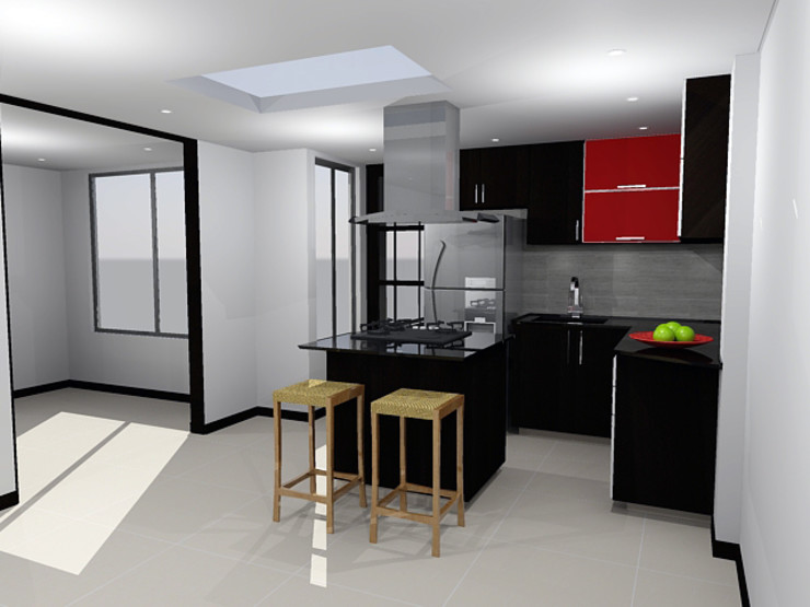 Omar Interior Designer Empresa de Diseño Interior, remodelacion, Cocinas integrales, Decoración Einbauküche Holzspanplatte