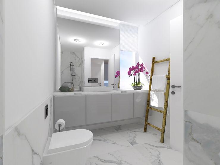 núcleo B arquitetos Ванна кімната Камінь Білий
