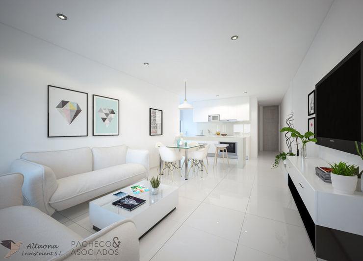 INTERIOR 2 Pacheco & Asociados Salones modernos Blanco
