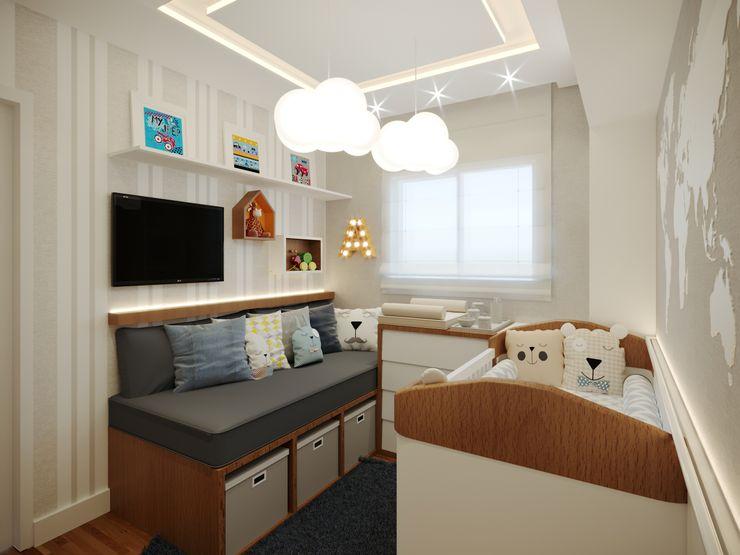 Aline Dinis Arquitetura de Interiores Baby room Wood Blue