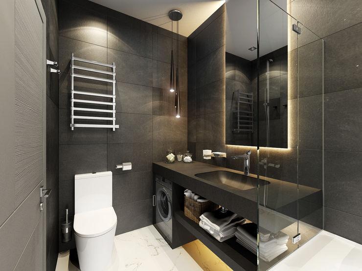 """3D-концепт, квартира в ЖК """"Легенда"""" Студия дизайна Дмитрия Артемьева 'Prosto Design' Ванная комната в эклектичном стиле"""