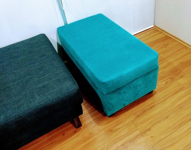 Proyecto de amueblado en departamento Estilo en muebles Salones modernos Turquesa