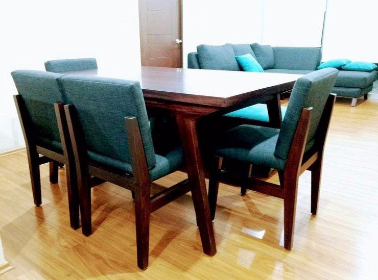 Proyecto de amueblado en departamento Estilo en muebles Comedores modernos Madera maciza Acabado en madera