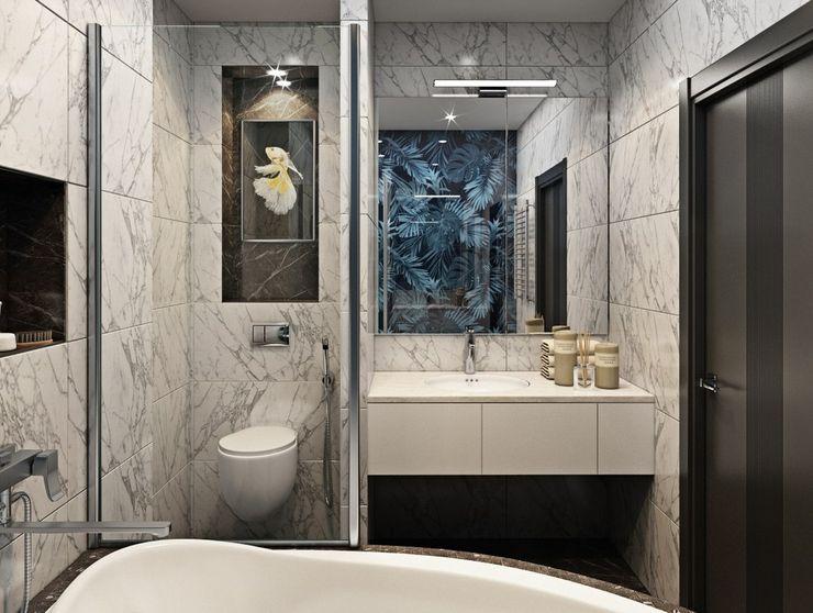 3к.кв. в ЖК Лазурная Симфония (101 м.кв.) ДизайнМастер Ванная комната в стиле модерн Серый