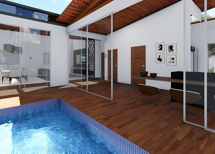 Da cozinha direto para a piscina realizearquiteturaS Piscinas de jardim
