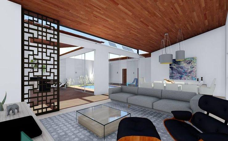 Sala de estar e jantar realizearquiteturaS Salas de estar modernas