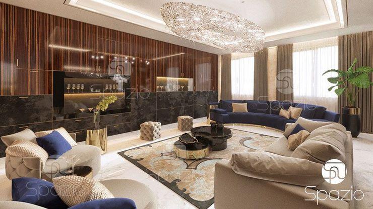 Spazio Interior Decoration LLC Salas de estilo moderno Madera maciza Marrón