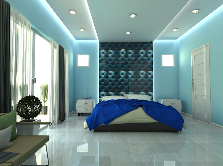 Blue Room Constantin Design & Build Mediterranean style bedroom Blue