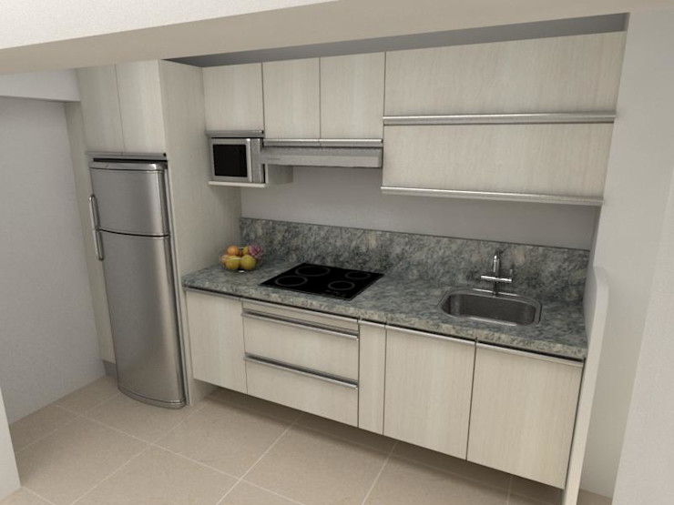 Arq. Barbara Bolivar KitchenCabinets & shelves Wood Beige