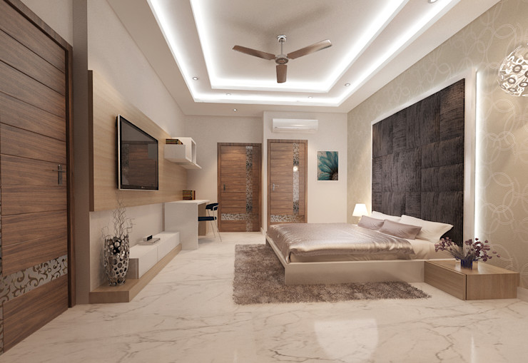 Residence-Pinjaniji KHOWAL ARCHITECTS + PLANNERS Modern style bedroom
