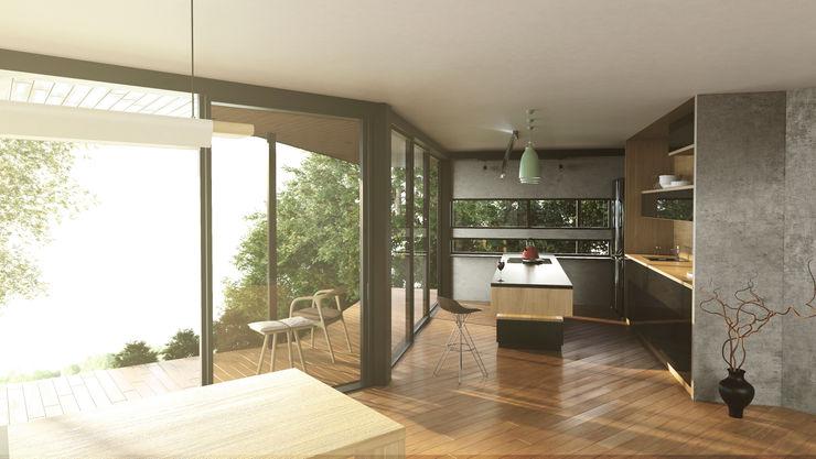 Cocina con vista Adrede Arquitectura Cocinas integrales Madera Gris