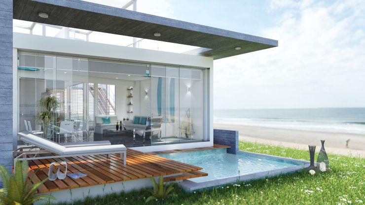 Casa de Playa - Mejía Inception Architects Casas unifamiliares Concreto Blanco