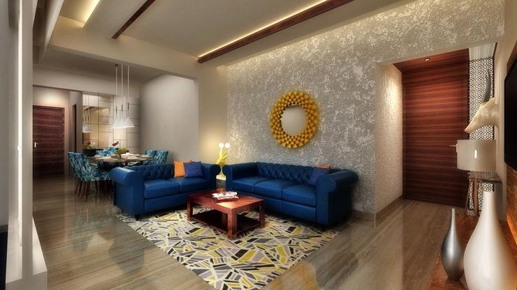 LIVING ROOM A Design Studio Modern living room Wood Blue