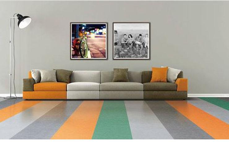 Piso Vinílico Textura Linho Supri Representações Corredores, halls e escadas modernos Plástico Multi colorido