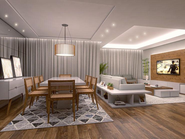 Sala de Jantar Conceito22 Arquitetura Inteligente Salas de jantar modernas Madeira Cinza