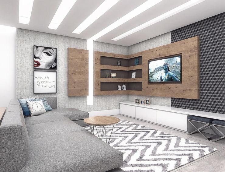 Sala de TV Conceito22 Arquitetura Inteligente Salas de estar modernas Madeira Cinza