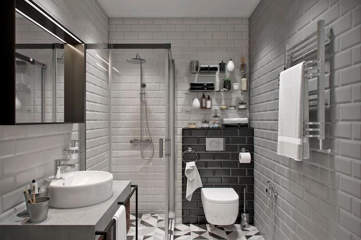 Квартира 74 кв.м. в современном стиле в ЖК Татьянин парк Студия архитектуры и дизайна Дарьи Ельниковой Ванная в стиле лофт