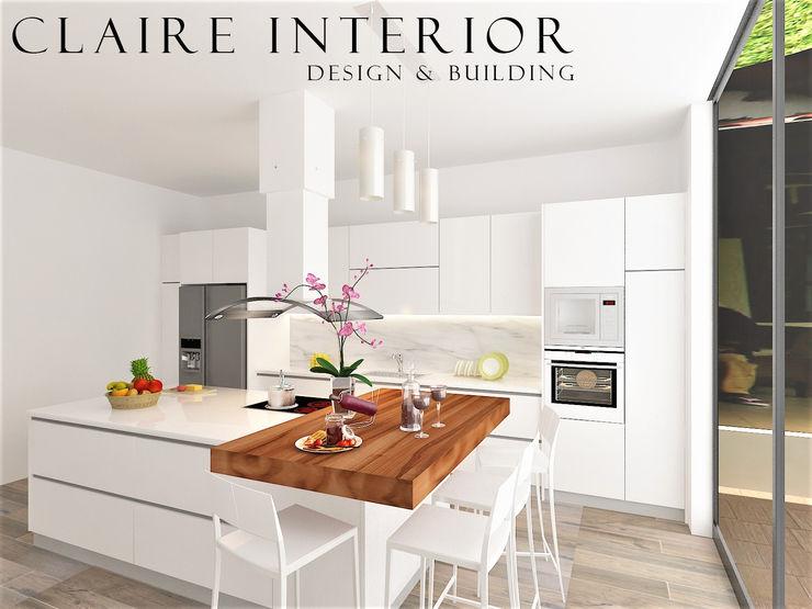 Kitchen Set Modern Minimalist Claire Interior Design & Building Dapur built in Kayu White