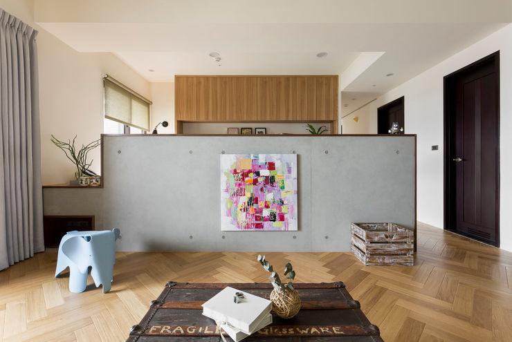 客廳 邑田空間設計 Scandinavian style living room Concrete