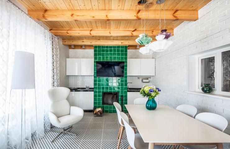 Irina Derbeneva Minimalistische Wohnzimmer Türkis