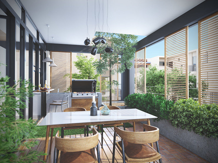 Studio Gritt Skandinavischer Balkon, Veranda & Terrasse