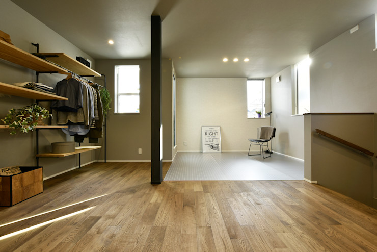 ワンルームの趣味空間 タイコーアーキテクト インダストリアルスタイルの 寝室