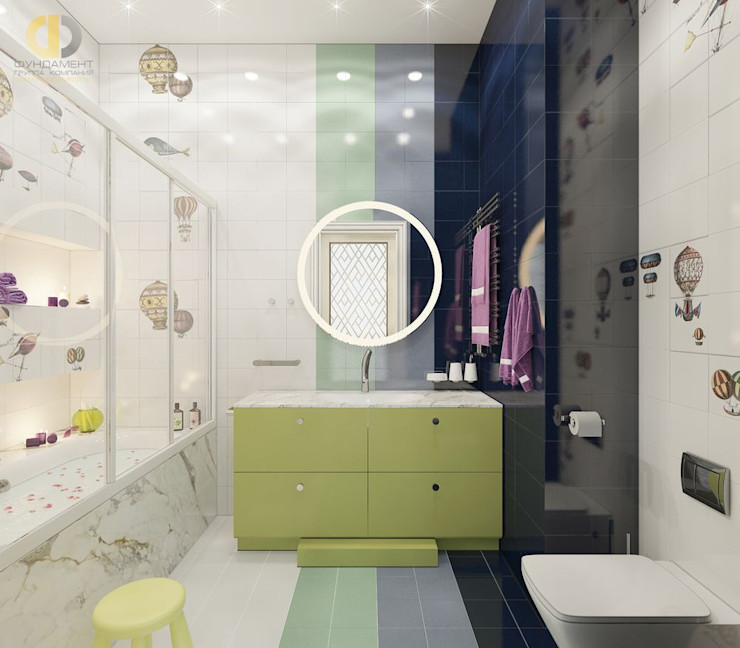 Дизайн четырехкомнатной квартиры в стиле неоклассика Группа Компаний 'Фундамент' Ванная в классическом стиле