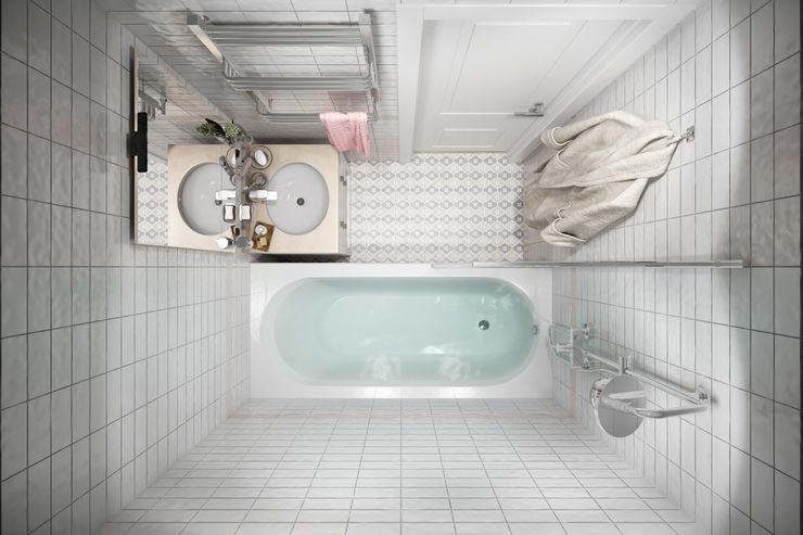Квартира 51 кв. м. в стиле эклектика в Спб. Студия архитектуры и дизайна Дарьи Ельниковой Ванная комната в эклектичном стиле