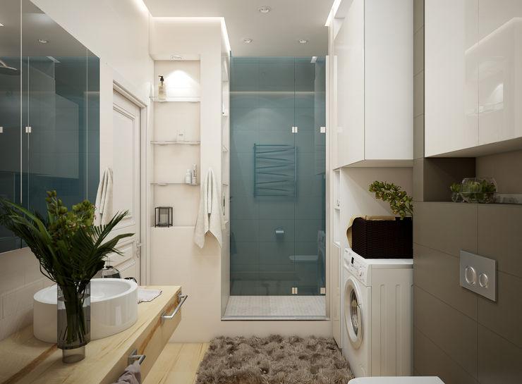 Дизайн проект двухкомнатной квартиры в скандинавском стиле Искусство Интерьера Ванная комната в скандинавском стиле Плитка Бирюзовый