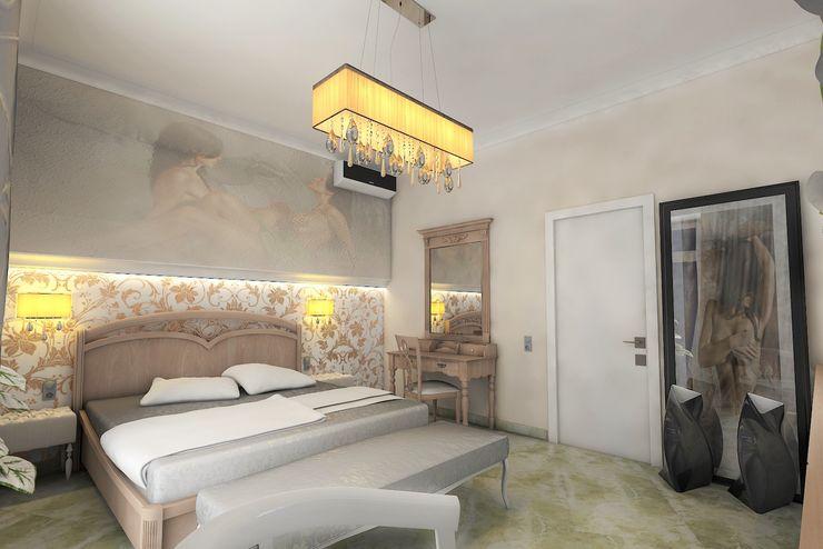 Дизайн интерьера коттедж в стиле арт-деко по ул.Поленова, спальня STUDIO DESIGN КРАСНЫЙ НОСОРОГ Спальня в классическом стиле