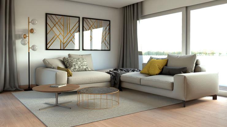 Projeto 3D BORAGUI - Design Studio Salas de estar modernas