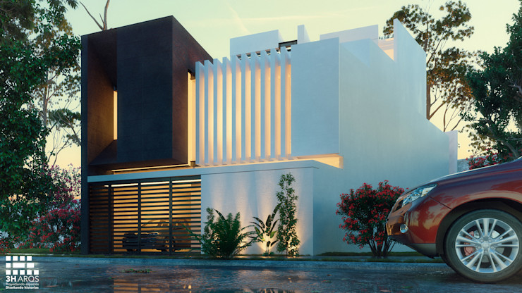 FACHADA PRINCIPAL- LOMAS DEL VALLE 3h arquitectos Casas modernas