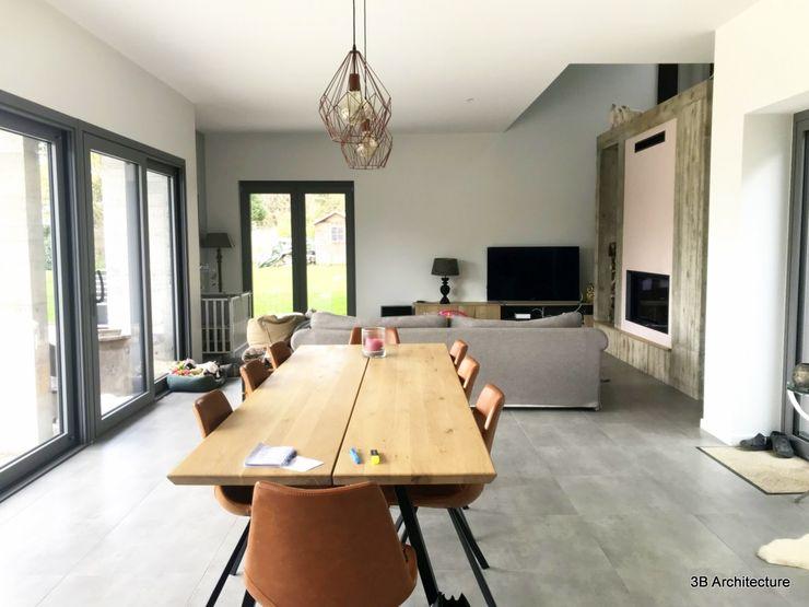 Espace de vie ouvert 3B Architecture Salle à manger minimaliste Gris