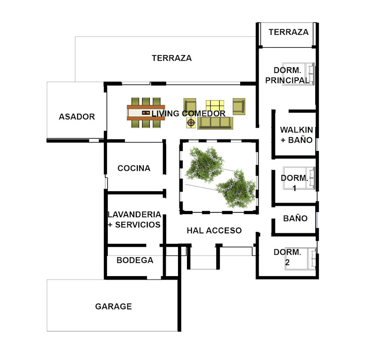 Proyecto Casa (Moderna o Mediterránea) 150m2 Constructora Rukalihuen Casas de madera Madera