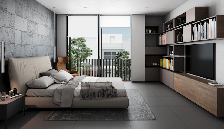 Stuen Arquitectos Modern style bedroom Stone Grey