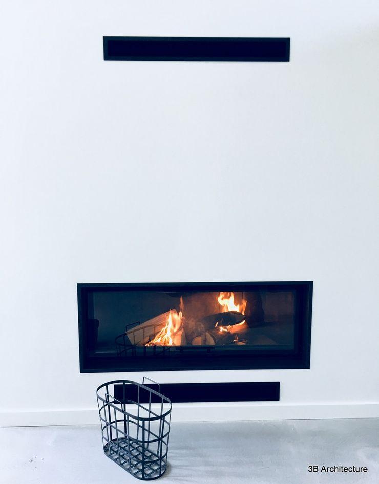 Foyer épuré pour maison moderne 3B Architecture Salon moderne Blanc
