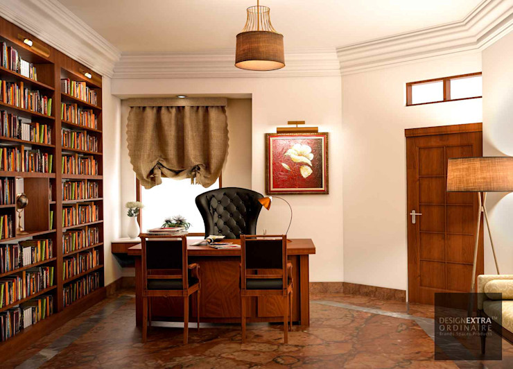 Study/Office - Villa in Manipur homify Colonial style study/office Wood effect