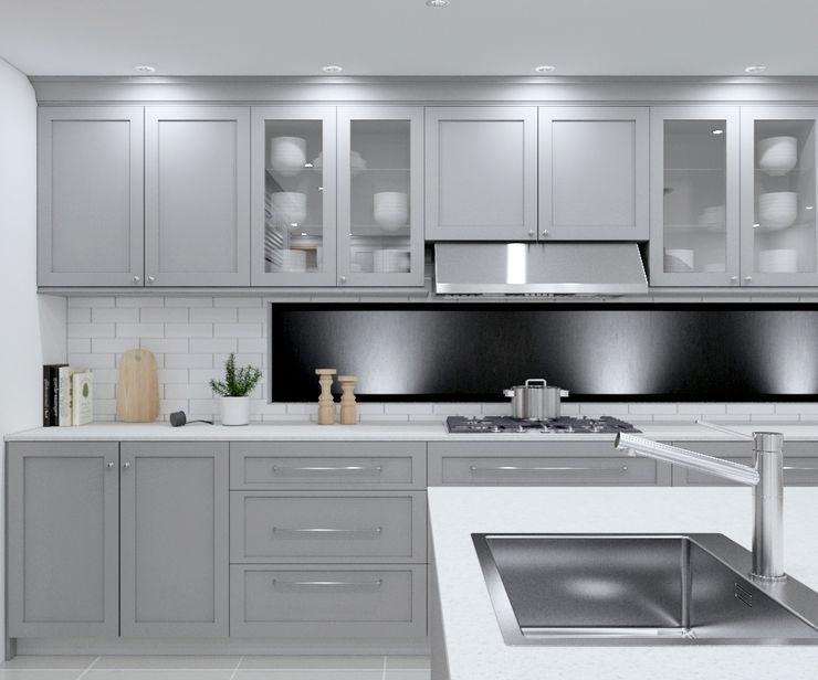 SANDTON KITCHEN - Grey cabinets Linken Designs Built-in kitchens Wood Grey