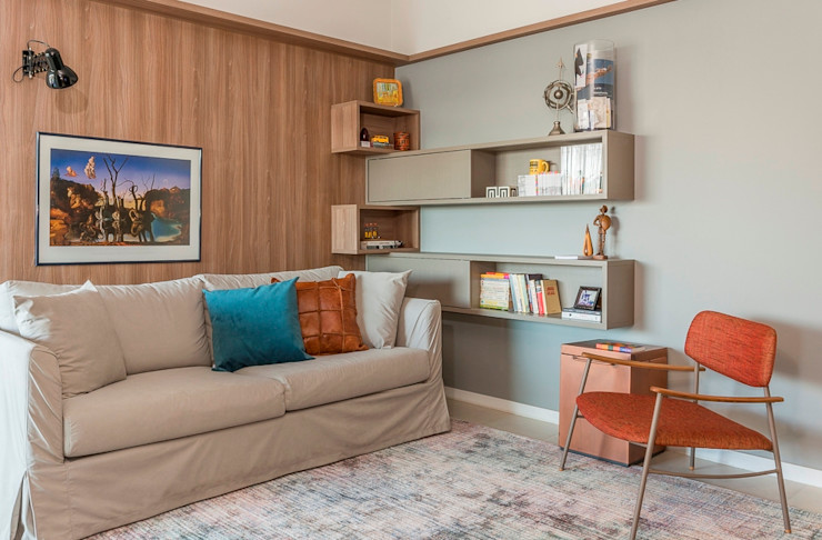 Erlon Tessari Arquitetura e Design de Interiores 现代客厅設計點子、靈感 & 圖片